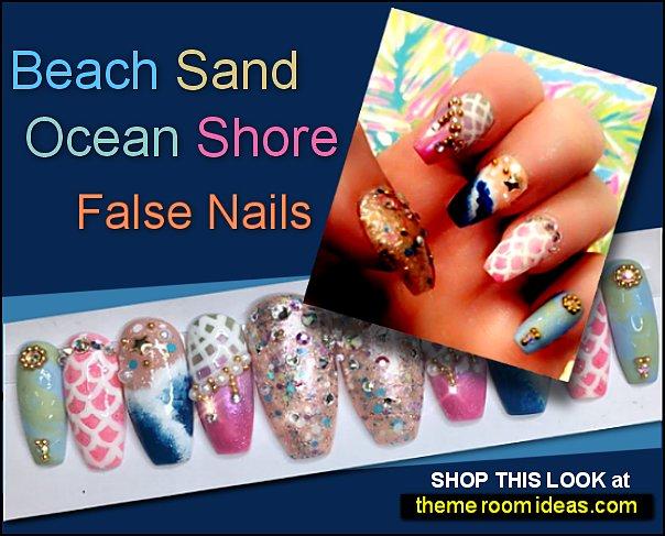 Beach Sand Ocean Shore false nails Pink Gold Blue White nails tropical beach nail designs