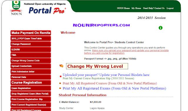 Portal Pro NOUN Students Control Centre