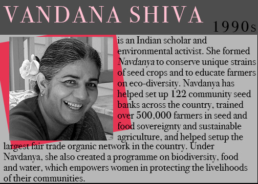 famous feminists, feminists throughout history, women history month, vandana shiva, women sustainable development