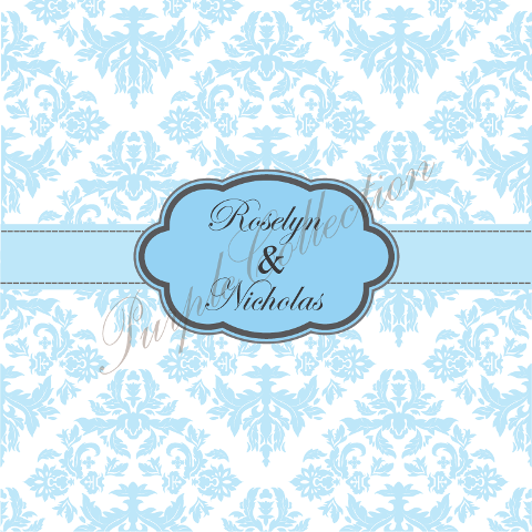 Square Card Floral Damask Design Wedding Invitation Cards, Square Card, Floral, Damask, Wedding, Invitation Card, Wedding Invitation Card, Roselyn & Nicholas, Roselyn, Nicholas, Blue