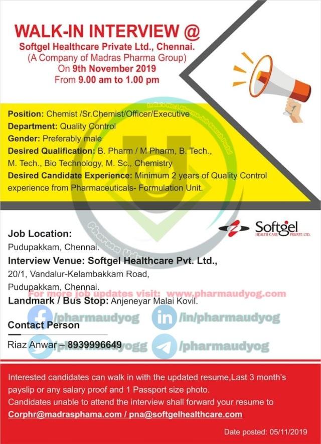 Softgel Pharma | Walk-in at Chennai for QC on 9 Nov 2019 | Pharma Jobs - QC