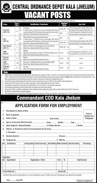 Pak Army Central Ordnance Depot Kala (Jehlum) jobs in Pakistan 2021