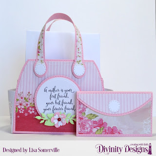 Divinity Designs Stamp Set: Daughter's Best Friend, Custom Dies, Timeless Tote, Timeless Tote Layers, Petite Pocketbook, Double Stitched Circles, Circles, Bitty Blossoms, Bitty Blooms, Paper Collection: Pretty Pink Peonies