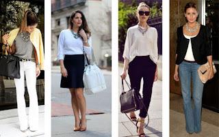 Looks profissionais com colares statement. Com calças brancas t-shirt cinza e blazer amarelo, com saia preta e camisola branca, com alças pretas e blusa bege, com calças de ganga blusa branca e casaco preto.