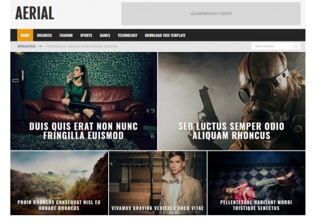 Aerial Ads Ready Blogger Template Full Free Premium Version