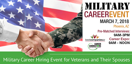 Header for event poster.  Text: Military Career Event March 7, 2018 9 a.m. - 3 p.m. North Phoenix Baptist Church Conference Center, 5757 N. Central Ave. Phoenix, AZ.  Best Companies AZ logo, Career Connectors logo