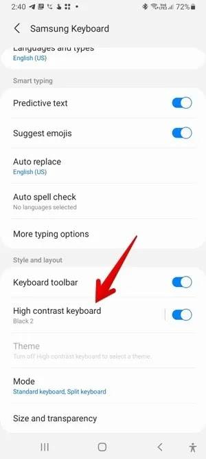 لوحة مفاتيح Samsung أصفر أزرق أسود