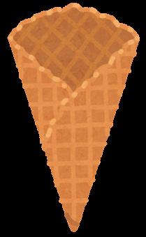 アイスのコーンのイラスト(ワッフル)