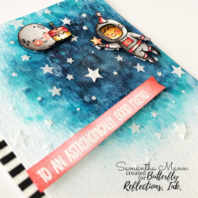 Astronomically Good Friend Card by Samantha Mann, Avery Elle, Watercolor, Cards, Handmade Cards, Birthday Card, Stencil, Galaxy #averyelle #averyellestamps #watercolor #cards #cardmaking #stencil #embossingpaste #handmadecards