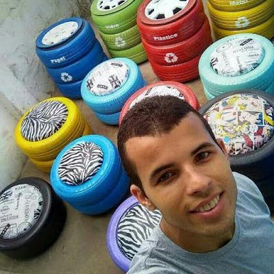 Joven brasilero recicla neumáticos para construir cuchas para refugios de animales