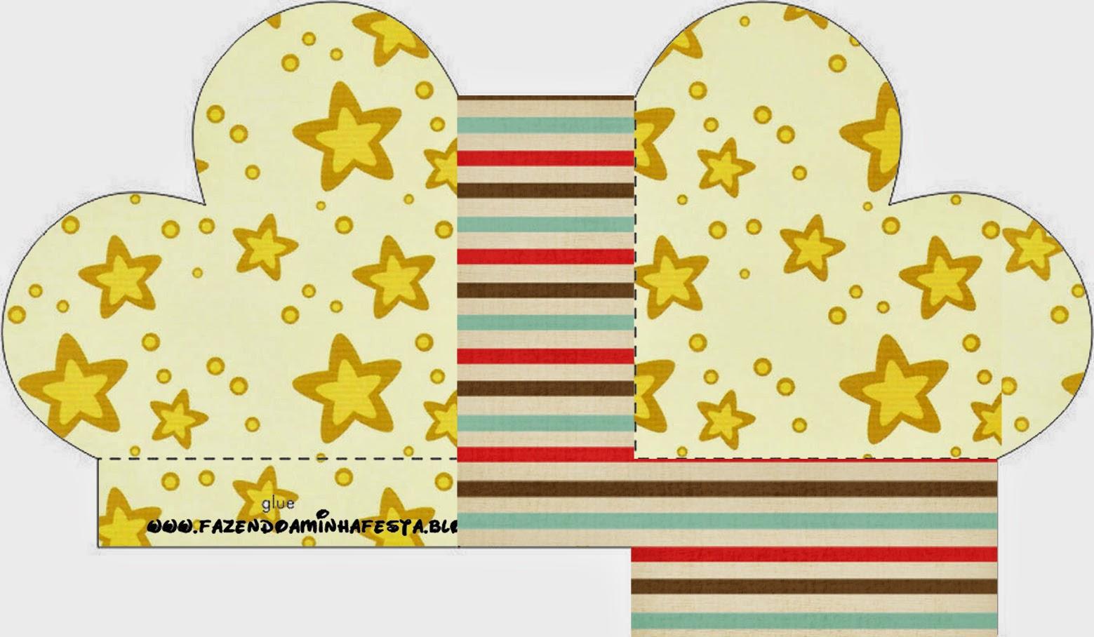 Caja abierta en forma de corazón de Estrellas Doradas y Rayas de Colores.
