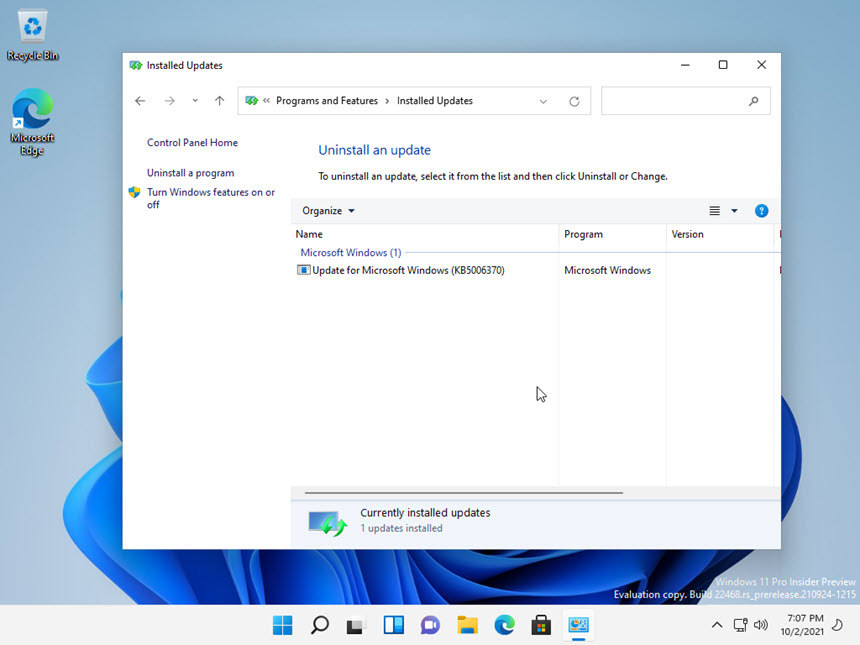 Windows 11 Insider Preview Build 22468.1000