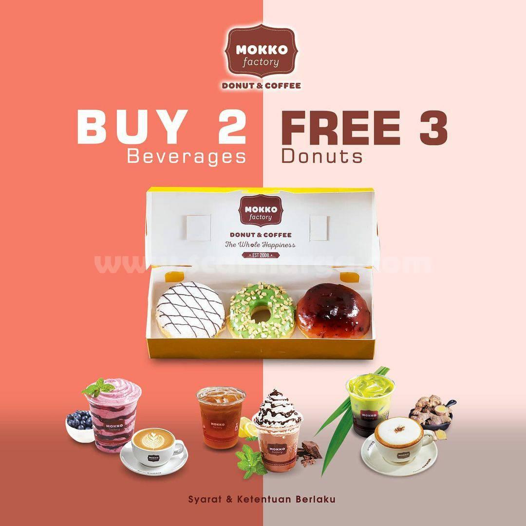 Mokko Factory Valentine's Day! Promo Beli 2 Minuman Gratis 3 Donuts