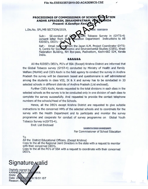 SE-conduct of Global Youth Tobacco Survey in (GYTS-4) consent letter from State Education Department Instructions to All RJDSE's, DEO's - Reg.