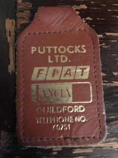 Puttocks Ltd brown leather key fob with Fiat and Lancia branding