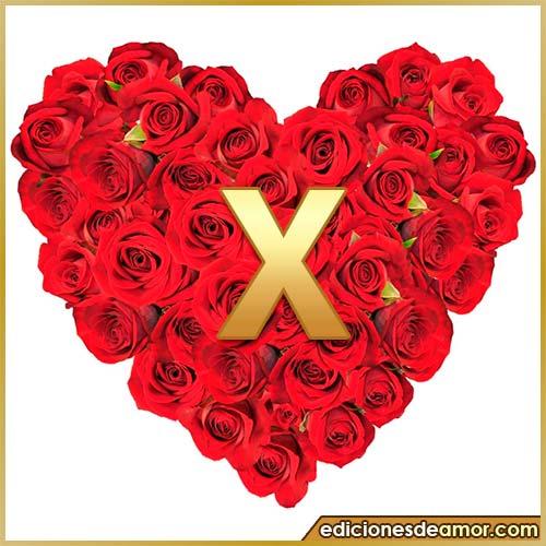 corazón de rosas con letra X
