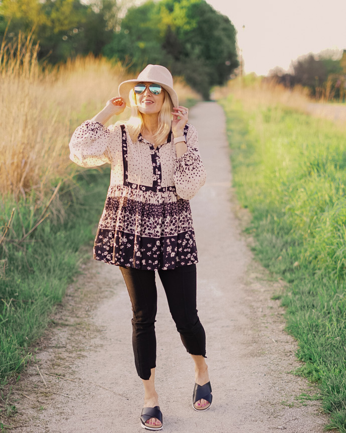 Printed Boho Top Outfit for Spring