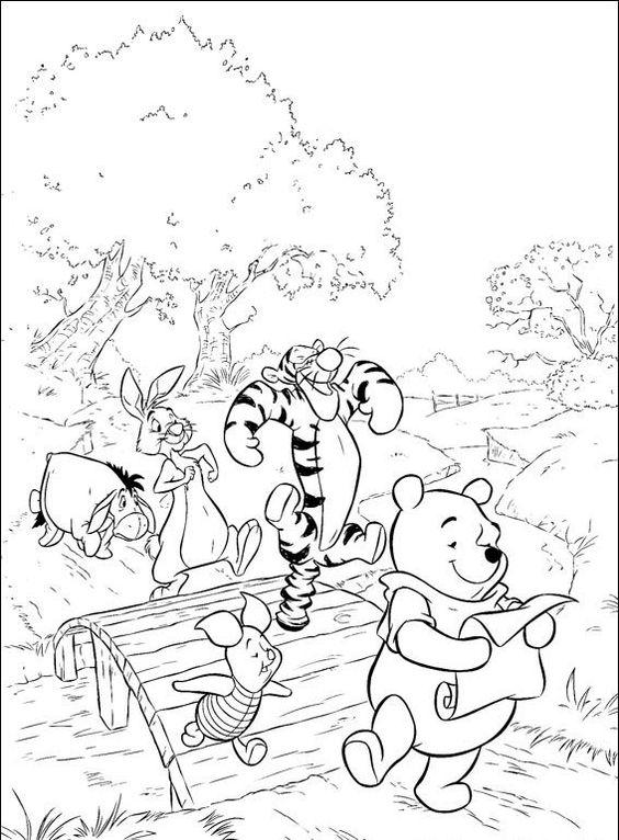 Tranh cho bé tô màu gấu Pooh 33