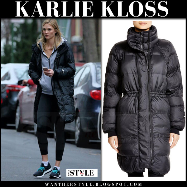 Karlie Kloss in black puffer adidas by stella mccartney parka, black adidas leggings and black sneakers what she wore workout style