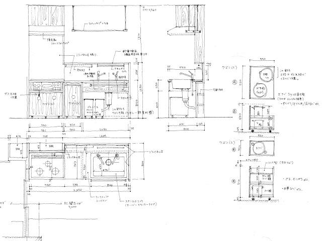狭小都市型二世帯住宅の収納計画をとおして 子世帯 キッチンの設計