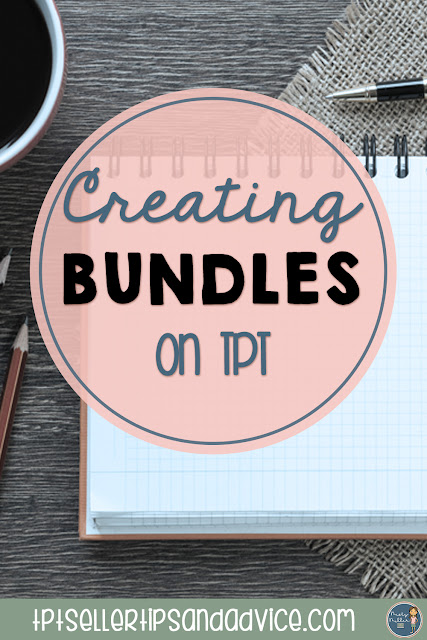 Pin image of desktop with supplies, center circle with text Creating Bundles on TPT