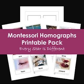 Montessori Homographs Printable Pack