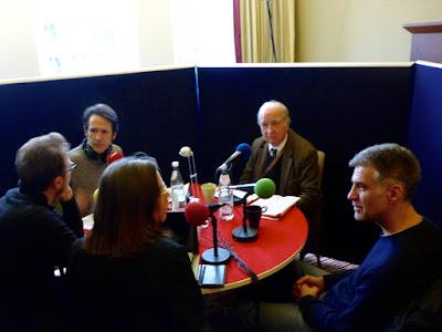 Calin Peter Netzer, Antoine Guillot, Michel Ciment, Romuald Karmakar, Caroline Elias (im Uhrzeigersinn)