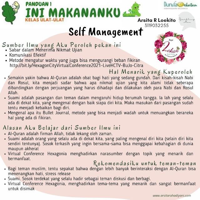 Jurnal Bunda Cekatan, Tahap Ulat-ulat, Self-Management, Proses Menjadi Pribadi yang Lebih Baik