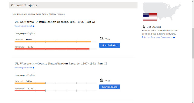 FamilySearch Find a Project Indexing Screen Current Projects