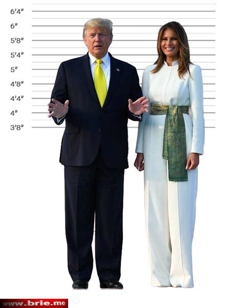 Donald Trump and Melania Trump height comparison