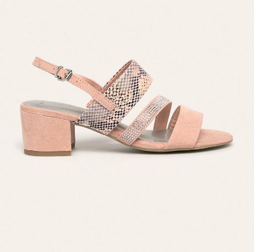Marco Tozzi - Sandale roz de zi cu toc gros si snake print