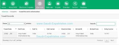 Online Travel Records Information KSA