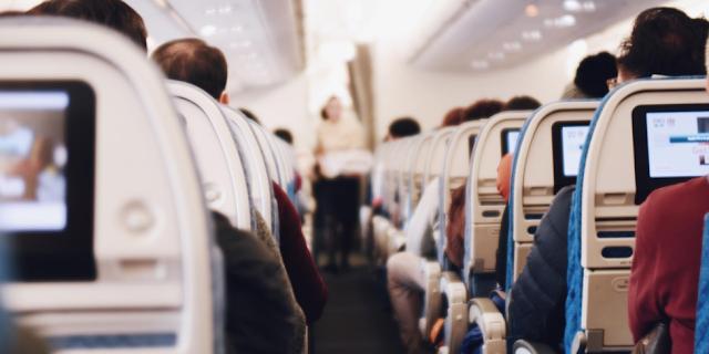 inside airplane sitting