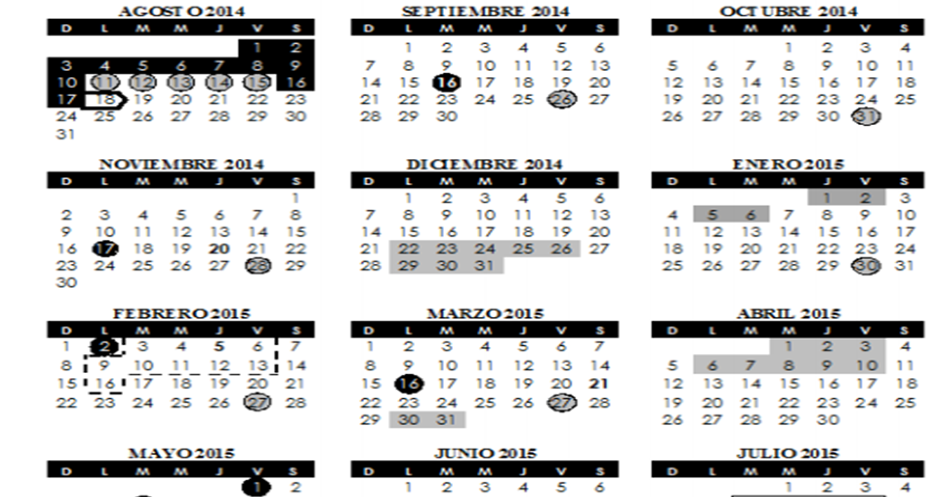SUPERVISIÒN ESCOLAR 54: CALENDARIO ESCOLAR 2014-2015