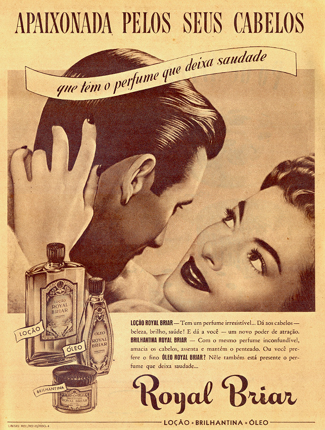 Propaganda antiga da loção masculina para cabelos Royal Briar veiculada em 1947