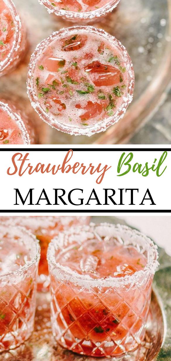 Strawberry Basil Margarita #drinks #summer