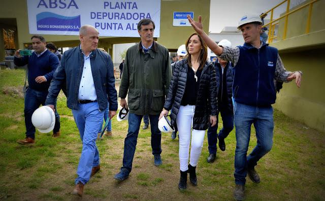 María Eugenia Vidal visitó una planta depuradora en Punta Alta que estaba frenada hace 15 años