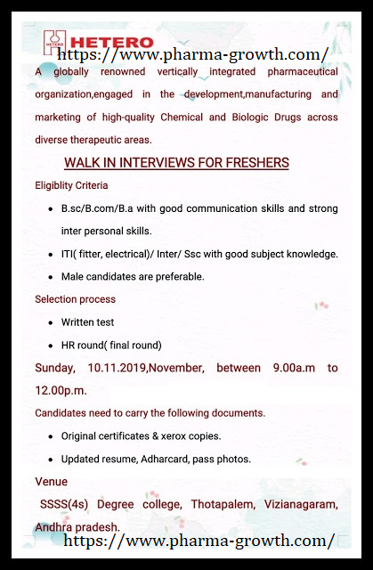 Hetero – Walk in interview for Fresher Candidates on 10th Nov' 2019