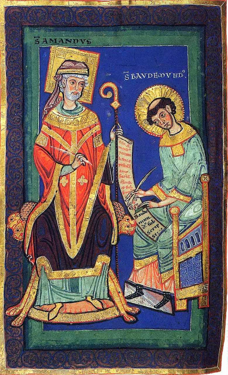 Santo Amando, bispo de Maastricht, dita seu testamento. Vida e milagres de Santo Amando, século XII. Biblioteca Municipal de Valenciennes, Ms.501, f.58v-59