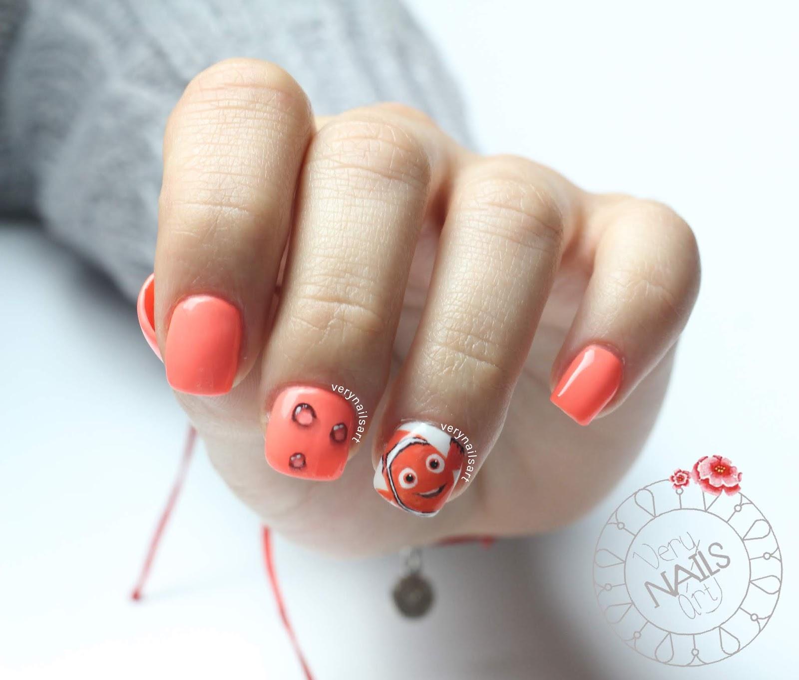 Como hacer burbujas con One Stroke y nail art Disney Nemo paso a paso