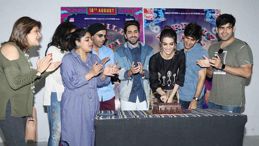 Kriti Sanon and Ayushmann Khurrana During Kriti's Birthday Celebration at Mehboob Studio
