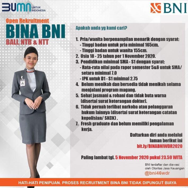 Open Rekrutmen Bina BNI November 2020