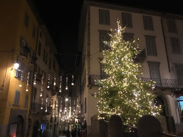 A Christmas tree in Piazza Vecchia in the historic  northern Italian city of Bergamo
