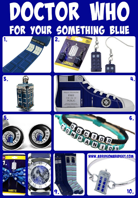 Doctor Who fans! Incorporate the smash show into your wedding with these Doctor Who For Your Something Blue ideas from www.abrideonabudget.com.