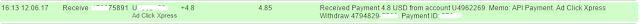 Bukti Pembayaran dari Situs ACX Search (Payment Proof From Adclick Xpress)