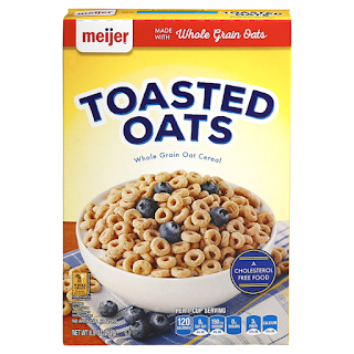 A stock image of Meijer Toasted Oats Cereal, from Meijer