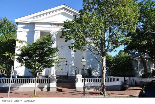 white exterior and columns of the Nantucket Library, the Atheneum