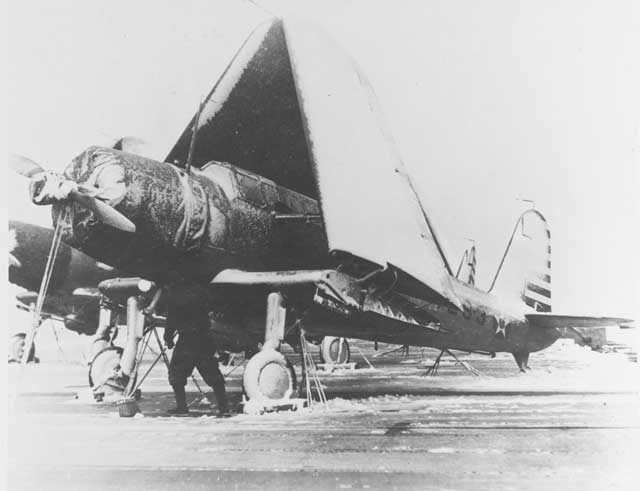 An SB2U-2 Vindicator aboard USS Wasp on 2 February 1942 worldwartwo.filminspector.com