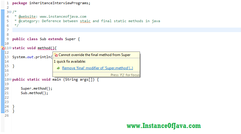 Static method vs final static method in java with example programs