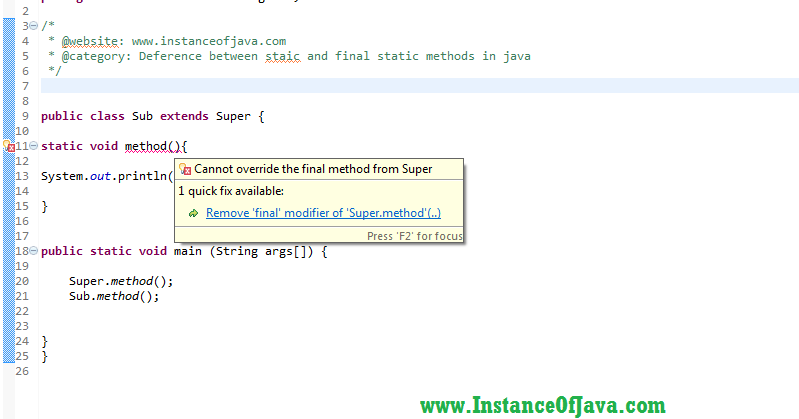 Static method vs final static method in java with example